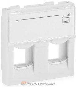Лицевая панель 2 порта (45х45, Keystone, шторки, откидное маркировочное окно) (10-0302)