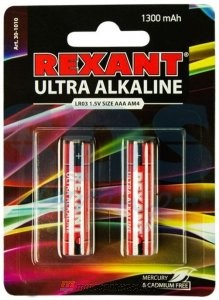 Ультра алкалиновая батарейка AAA/LR03 1,5 V 2 шт. блистер REXANT (30-1010)